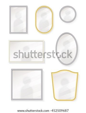 Different realistic mirrors set with reflection, isolated on white background, vector illustration. Isolated mirrors set on white background. Collection of modern steel mirrors. - stock vector