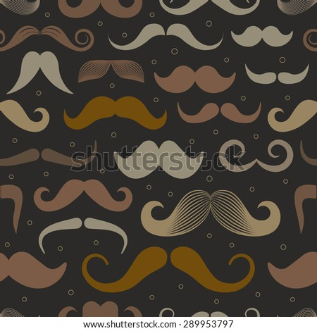 Different retro style moustache seamless pattern. Dark variation - stock vector