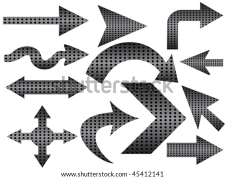 different shape of arrows - stock vector