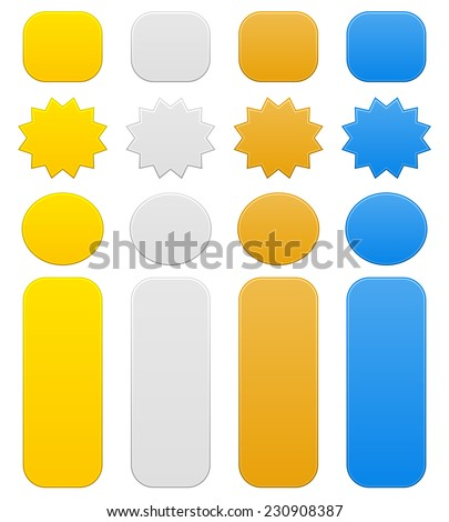 Different shapes in gold, silver, bronze and an additional blue color - stock vector