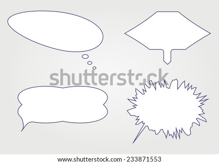 different shapes simple white speech bubbles. vector illustration - stock vector