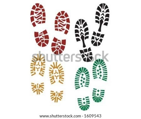 Different shoe traces on the surface. - stock vector