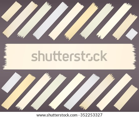Different size, horizontal and diagonal adhesive sticky tape pieces - stock vector
