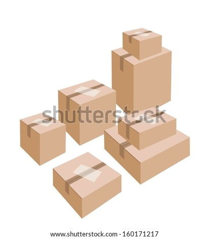 Different Size of Sealed Cardboard Boxes with Blank White Label Isolated on White Background, Ready for Shipping.  - stock vector