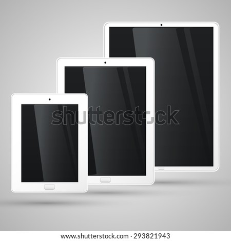 Different sizes of a white tablet, vector - stock vector