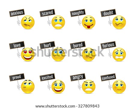 Different smiles emotions with plates - stock vector