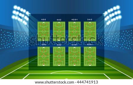 Different soccer team arrangement. Football infographic template - stock vector