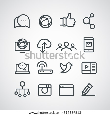 Different social media icons collection. Vector clip-art - stock vector