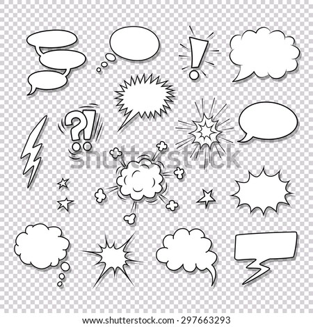 Different speech bubbles and elements for comics vector set - stock vector