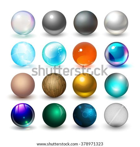 Different spheres. Materials and design elements. - stock vector