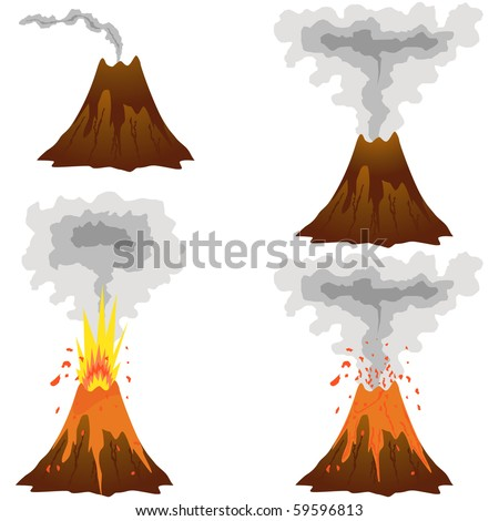 Different stages of volcano icon set vector isolated on white - stock vector