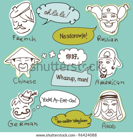 Different stereotypes of nationalities from all over the world. Hand drawn doodles. - stock vector