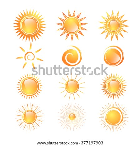 Different Sun Collection Over White Background - stock vector