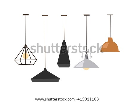 Different table lamps isolated on white background. Lamps isolated vector electrical design and table lamps bulb isolated. Lamps isolated interior, design and bright equipment desk lamps isolated. - stock vector