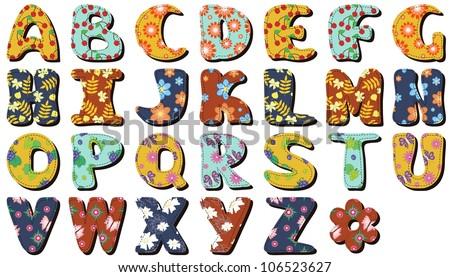 different textile scrapbook alphabet on white background - stock vector