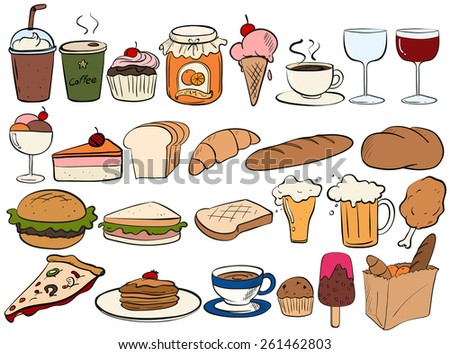 Different type of food and drinks - stock vector