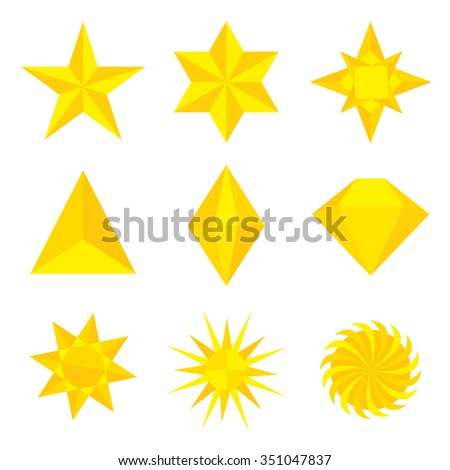 Different types and forms of gold stars Illustration Vector - stock vector