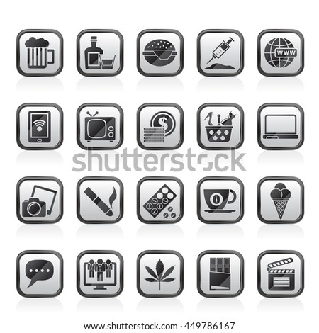 different types of Addictions icons - vector icon set - stock vector