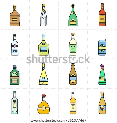 Different types of alcohol bottles. Simple outlined vector icon set of alcohol bottles. Linear style - stock vector