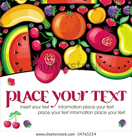 Different types of delicious fruits combined in frame. With space for your text - stock vector