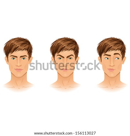 Different types of emotions on example of a handsome young brunette guy: happy, angry, making choice. Portraits. Isolated vector illustrations.  - stock vector