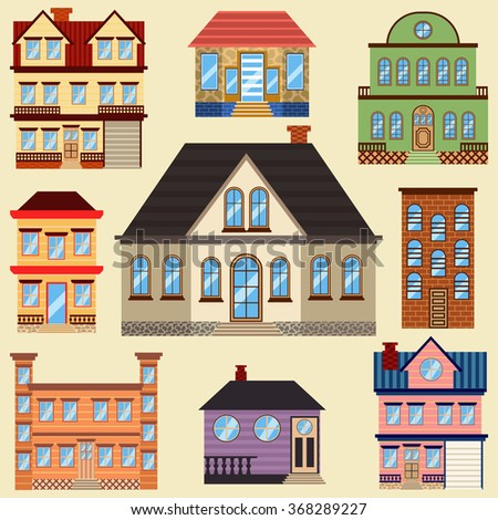Different types of houses. Buildings for map and other purposes. Architecture collection. Vector set. - stock vector