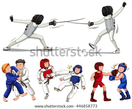 Different types of martial arts illustration - stock vector