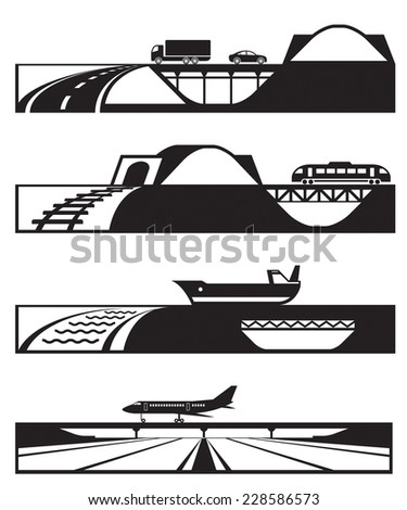 Different types of roads with vehicles - vector illustration - stock vector