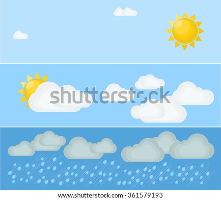 Different types of weather. Day and summer. Flat vector illustration. Symbols and icons of weather topic. - stock vector