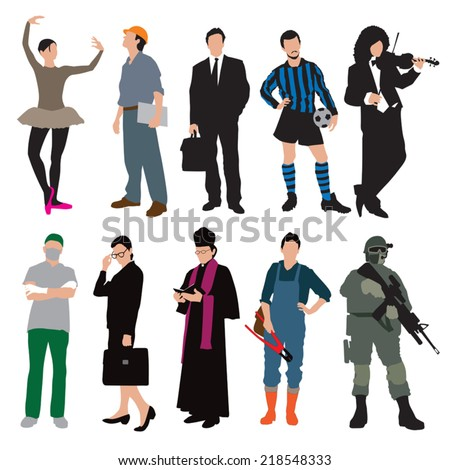 Different types of workers isolated on white background. Vector illustration - stock vector
