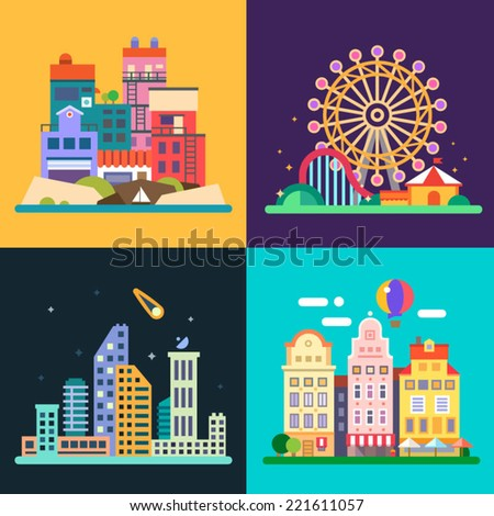 Different urban landscapes: colored houses by the sea, amusement park, night skyscrapers, historic city center. Vector flat illustrations - stock vector