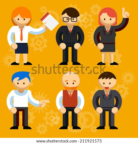 Different Vector Businessmen Characters  Isolated Orange Background. Mostly Used for offices or Business Presentations Designs - stock vector