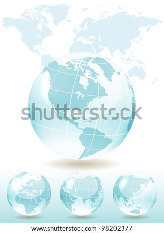 Different views of blue glass globe, map included, vector illustration, eps 10, 3 layers - stock vector