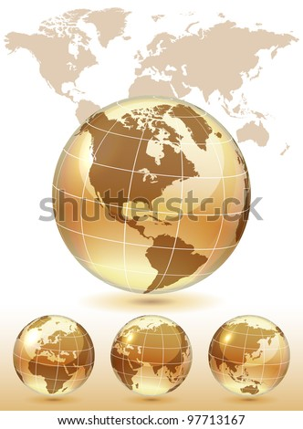Different views of golden glass globe, map included, vector illustration, eps 10, 3 layers - stock vector