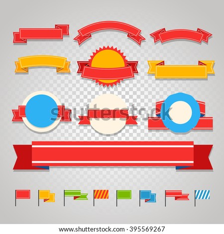 Different vintage ribbons set isolated on transparent background. Ready for a text - stock vector