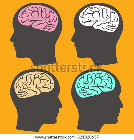 Different way of thinking, Brain in Head - stock vector