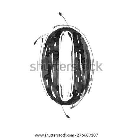 digit 0. Alphabet symbol - grunge hand draw paint / vector illustration - stock vector