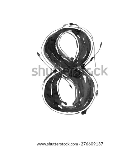 digit 8. Alphabet symbol - grunge hand draw paint / vector illustration - stock vector