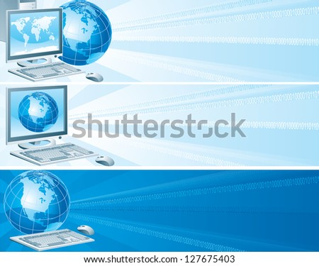 Digital America. Set of vector banners with computer, flat monitor,  mouse and  globe on an abstract background - stock vector