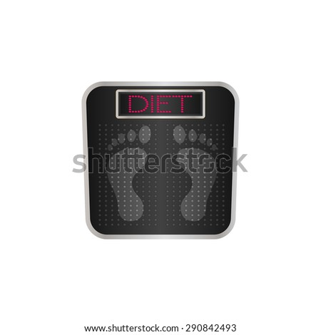 Digital bathroom scale with the word diet on the screen/diet bathroom scale/vector - stock vector
