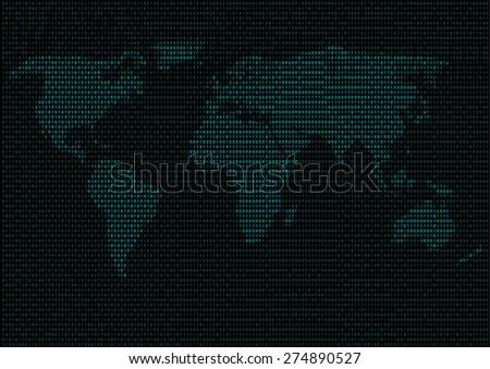 Digital Binary Cyan Code Lines World Map Vector Illustration - stock vector