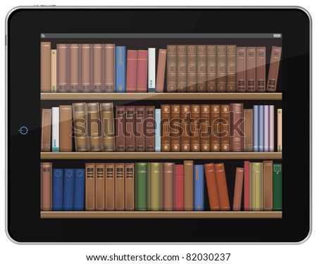 Digital Books. Book Shelf on Tablet PC. - stock vector