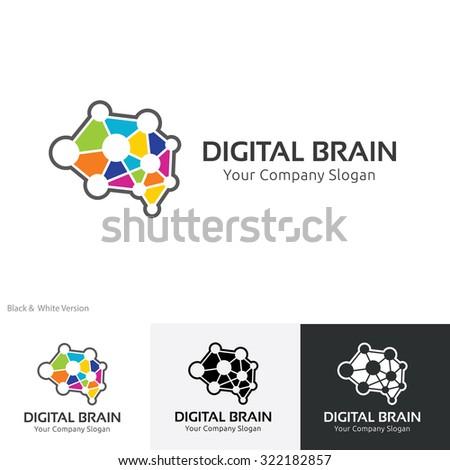 Digital brain logo,Brain logo,Creative logo,education logo,learning,inspiration,idea logo,Mine and Planning logo,Vector logo template - stock vector