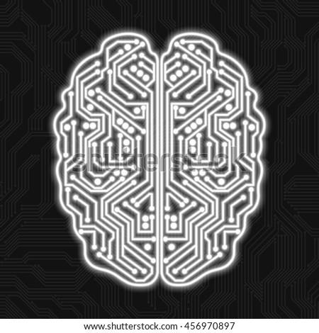Digital brain on a black background - stock vector