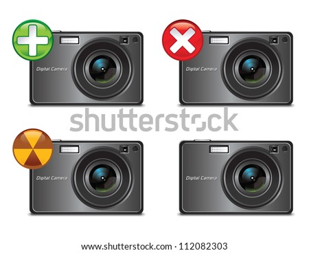Digital Camera Icons - stock vector