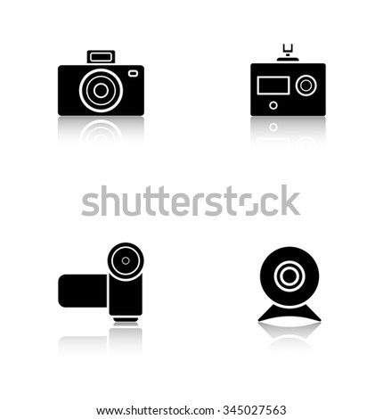 Digital cameras drop shadow icons set. Slr vintage photocam and webcam symbols. Modern action and video camera pictograms. Cast shadow logo concepts. Vector black silhouette illustrations - stock vector