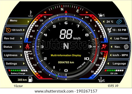 Digital Car Dashboard - stock vector