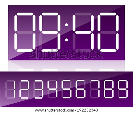 digital clock interface with numbers included - stock vector