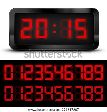 Digital  Clock with Liquid Crystal  Display  Red. Vector illustration - stock vector