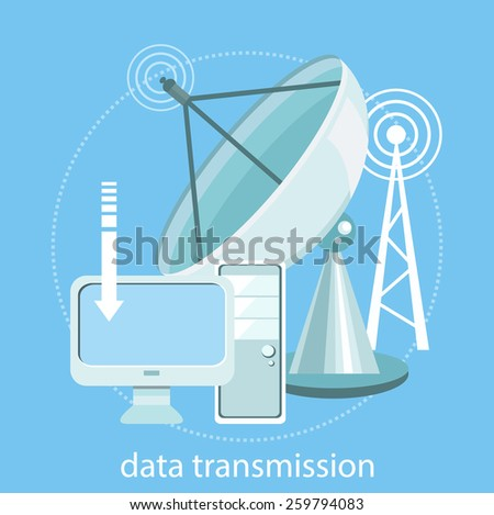 Digital concept satellite dish transmission data. Wireless icon for wifi remote control access and radio communication. Concept flat design style. For web banners, marketing and promotional materials - stock vector